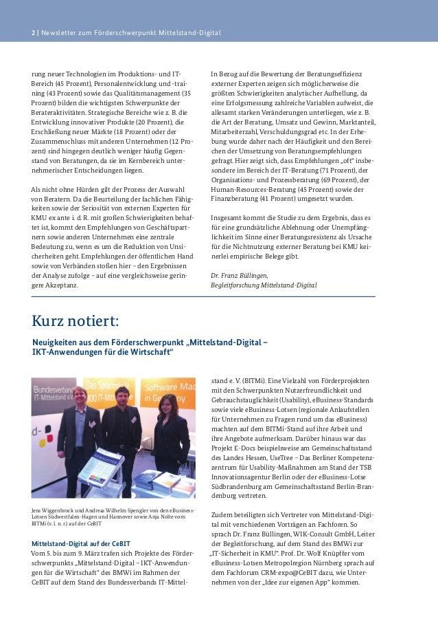 2   Newsletter zum Förderschwerpunkt Mittelstand-Digitalrung neuer Technologien im Produktions- und IT-Bereich (45 Prozent...