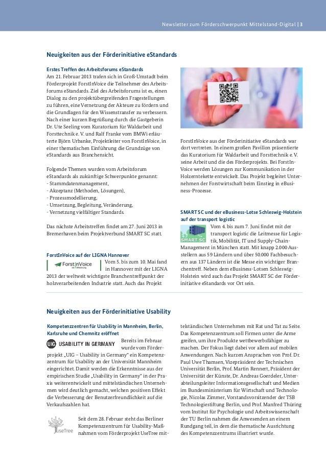 Newsletter zum Förderschwerpunkt Mittelstand-Digital   3Neuigkeiten aus der Förderinitiative eStandardsErstes Treffen des ...