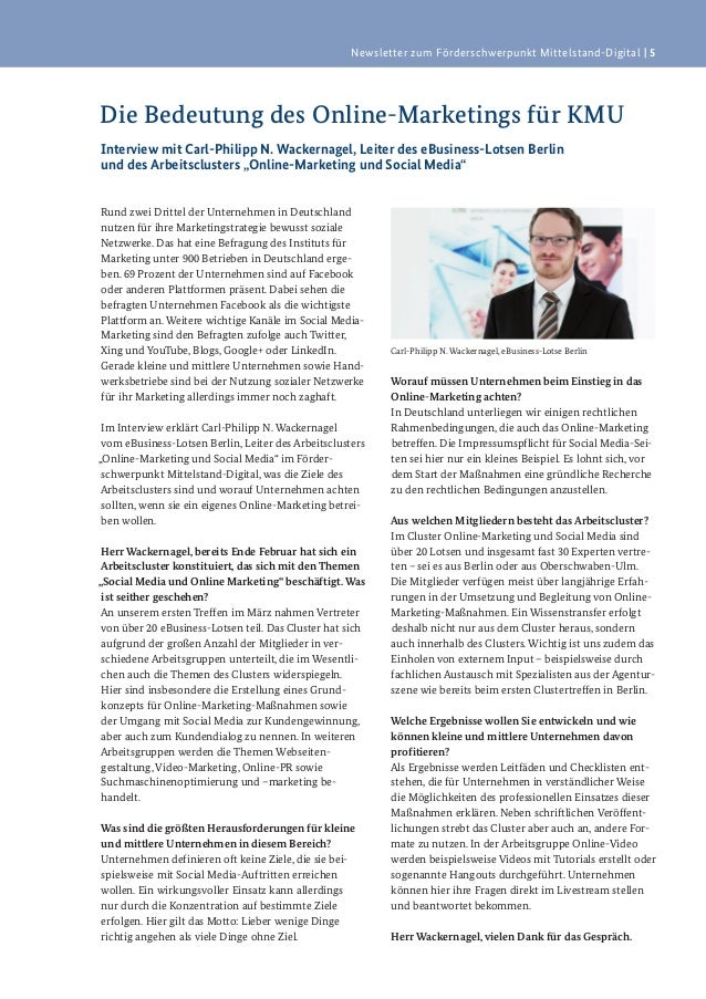Newsletter zum Förderschwerpunkt Mittelstand-Digital   5Die Bedeutung des Online-Marketings für KMUInterview mit Carl-Phil...