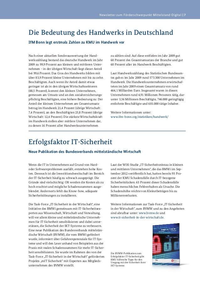 Newsletter zum Förderschwerpunkt Mittelstand-Digital   7Die Bedeutung des Handwerks in DeutschlandIfM Bonn legt erstmals Z...