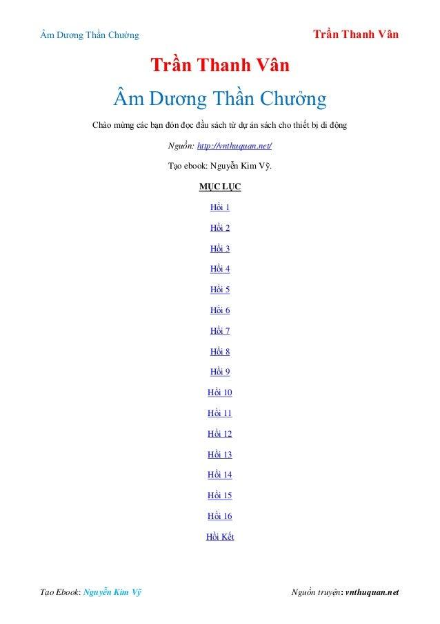 Âm Dƣơng Thần Chƣởng Trần Thanh Vân Tạo Ebook: Nguyễn Kim Vỹ Nguồn truyện:  ...