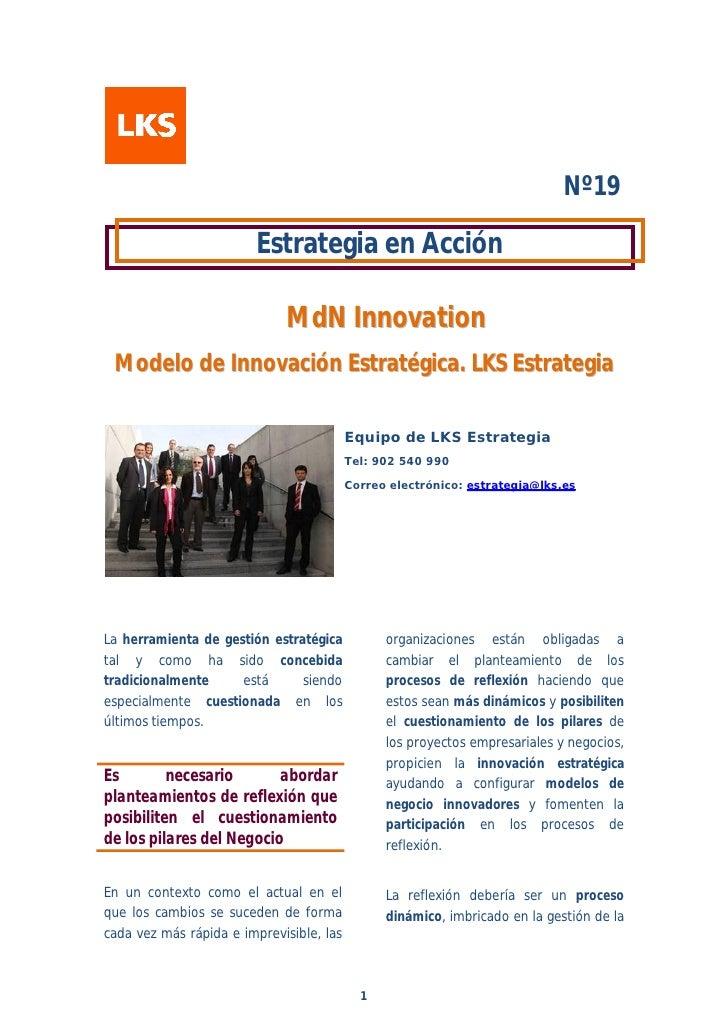 Nº19                        Estrategia en Acción                             MdN Innovation M o d e lo d e I n n o v a c i...