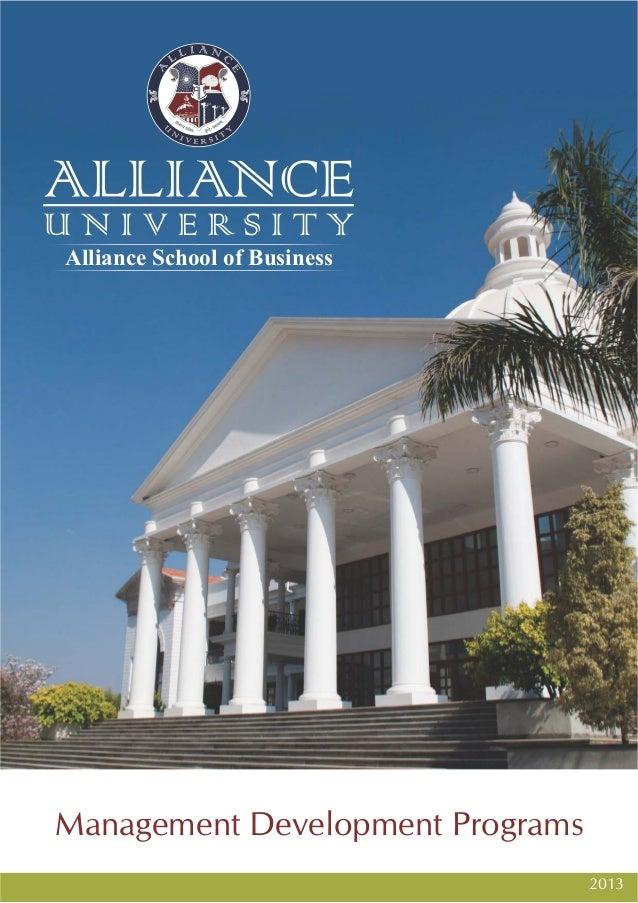 Alliance School of BusinessManagement Development Programs                                  2013