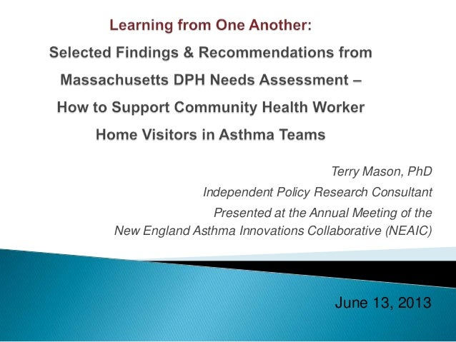 Terry Mason, PhD Independent Policy Research Consultant Presented at the Annual Meeting of the New England Asthma Innovati...