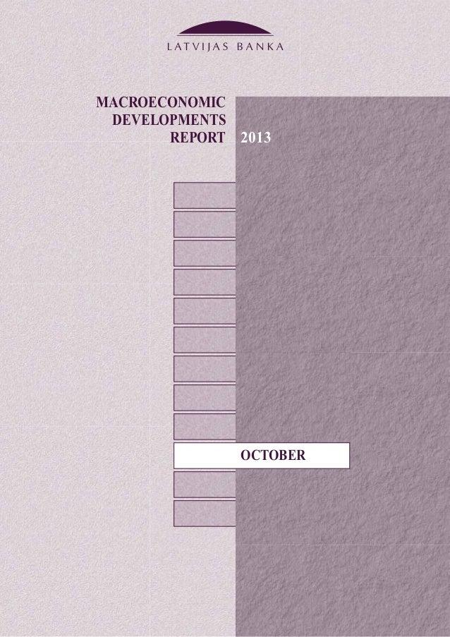 MACROECONOMIC DEVELOPMENTS REPORT OCTOBER 2013