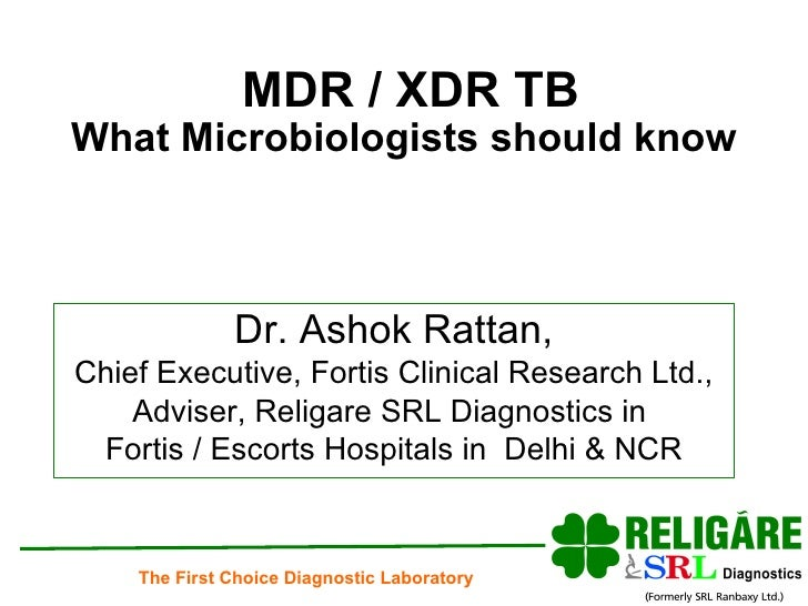 MDR / XDR TB What Microbiologists should know Dr. Ashok Rattan, Chief Executive, Fortis Clinical Research Ltd., Adviser, R...