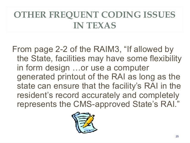 atx34 mds 3 0 rai cms updates frequent coding issues in texas an. Black Bedroom Furniture Sets. Home Design Ideas