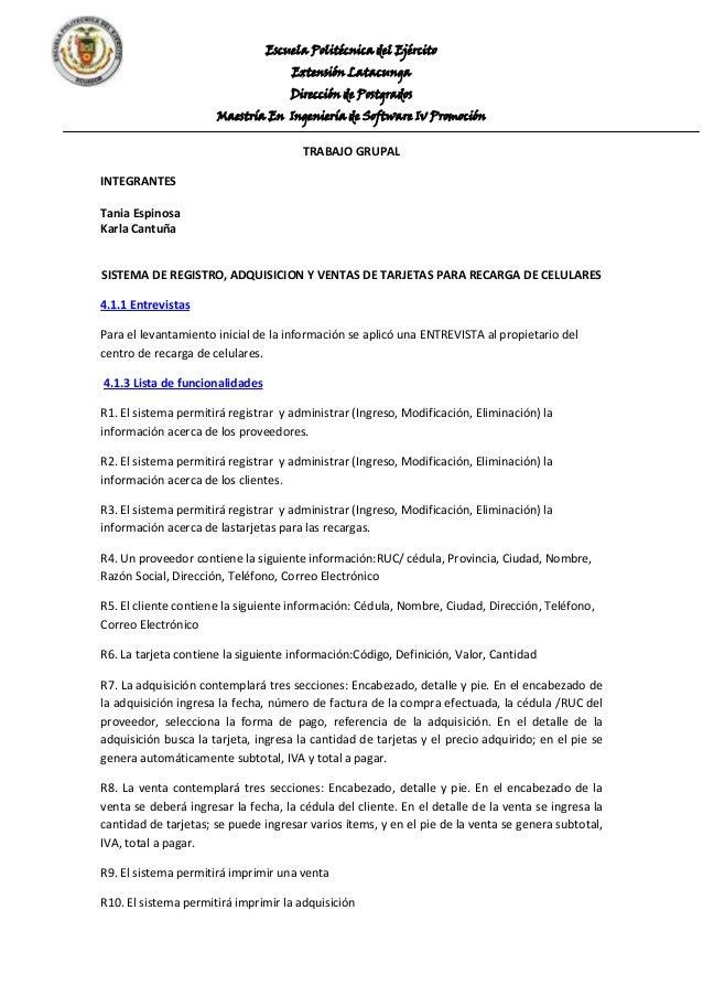 Escuela Politécnica del Ejército Extensión Latacunga Dirección de Postgrados Maestría En Ingeniería de Software Iv Promoci...