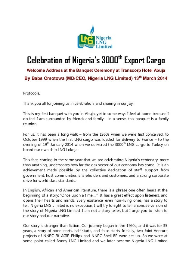 Speech by NLNG MD at 3000th Cargo Export Celebration