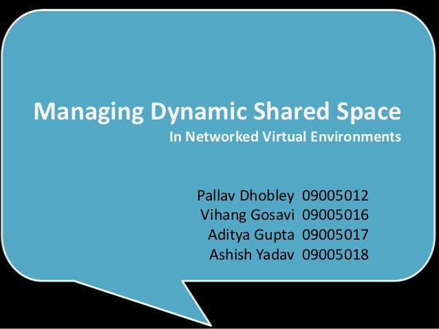 Managing Dynamic Shared Space          In Networked Virtual Environments             Pallav Dhobley   09005012            ...