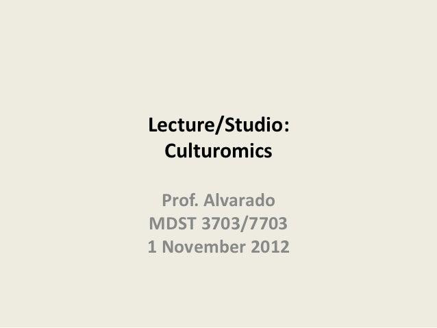 Lecture/Studio:  Culturomics  Prof. AlvaradoMDST 3703/77031 November 2012