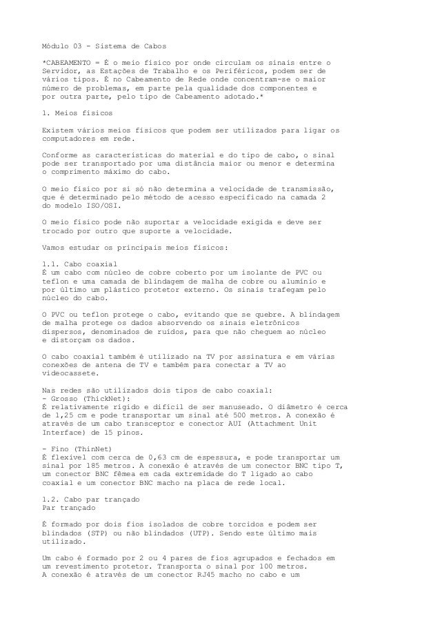Módulo 03 - Sistema de Cabos *CABEAMENTO = É o meio físico por onde circulam os sinais entre o Servidor, as Estações de Tr...