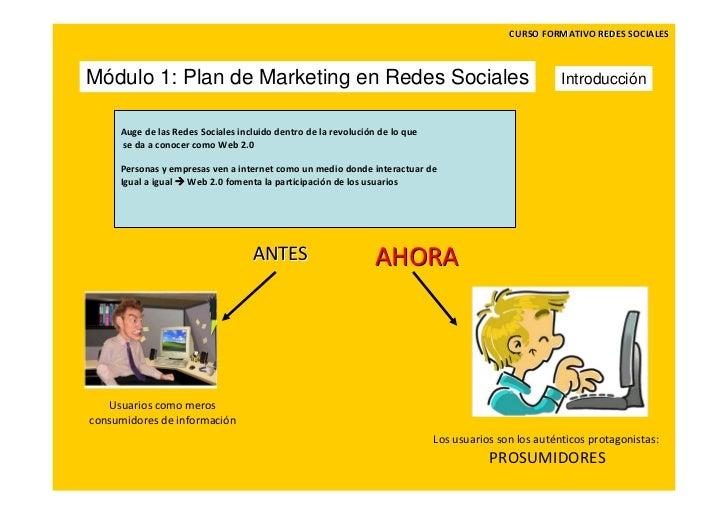 CURSOFORMATIVOREDESSOCIALESMódulo 1: Plan de Marketing en Redes Sociales                                               ...