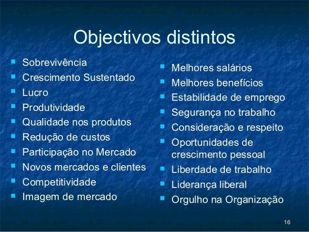 Objectivos distintos   Sobrevivência                  Melhores salários   Crescimento Sustentado         Melhores bene...