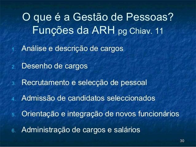 O que é a Gestão de Pessoas?       Funções da ARH pg Chiav. 111.   Análise e descrição de cargos2.   Desenho de cargos3.  ...