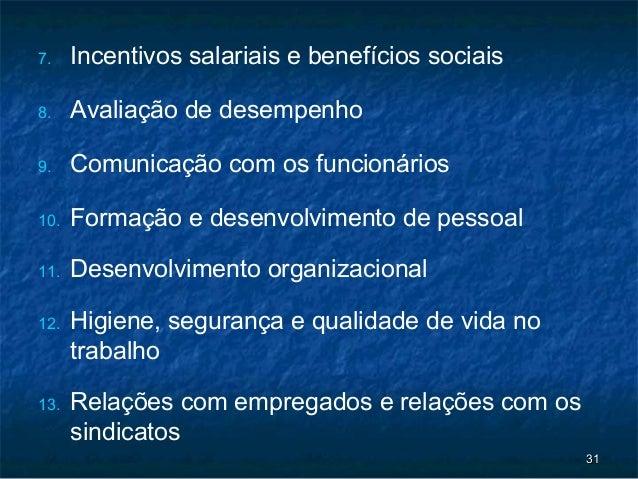 7.    Incentivos salariais e benefícios sociais8.    Avaliação de desempenho9.    Comunicação com os funcionários10.   For...