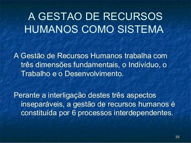 A GESTAO DE RECURSOS   HUMANOS COMO SISTEMAA Gestão de Recursos Humanos trabalha com  três dimensões fundamentais, o Indiv...