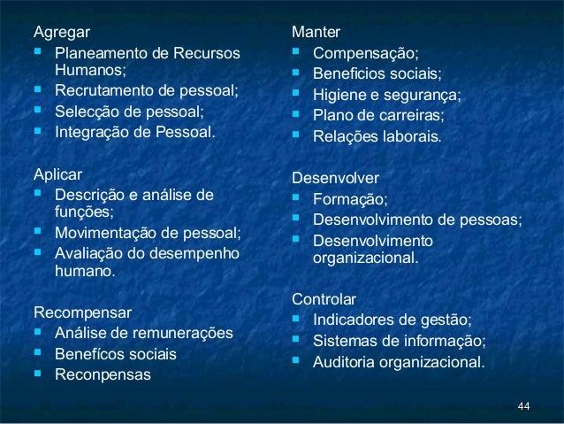Agregar                      Manter Planeamento de Recursos     Compensação;  Humanos;                    Beneficios so...