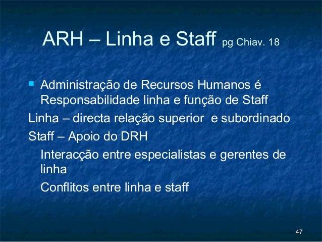 ARH – Linha e Staff pg Chiav. 18 Administração de Recursos Humanos é  Responsabilidade linha e função de StaffLinha – dir...
