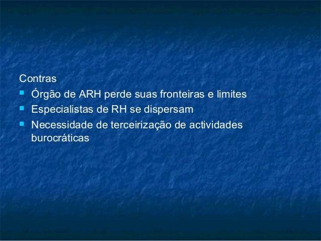 Contras Órgão de ARH perde suas fronteiras e limites Especialistas de RH se dispersam Necessidade de terceirização de a...