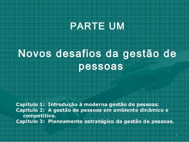 PARTE UMNovos desafios da gestão de         pessoasCapítulo 1: Introdução à moderna gestão de pessoas.Capítulo 2: A gestão...
