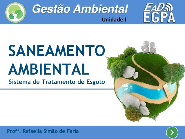 SANEAMENTO AMBIENTAL Sistema de Tratamento de Esgoto Profª. Rafaella Simão de Faria Gestão Ambiental Unidade I