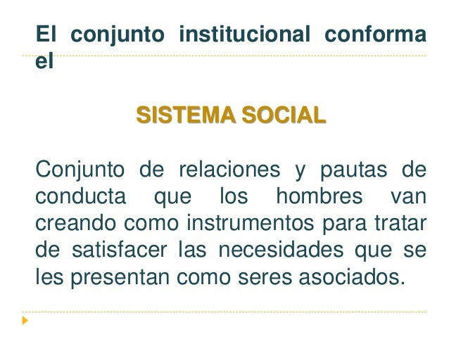 El conjunto institucional conforma el SISTEMA SOCIAL Conjunto de relaciones y pautas de conducta que los hombres van crean...