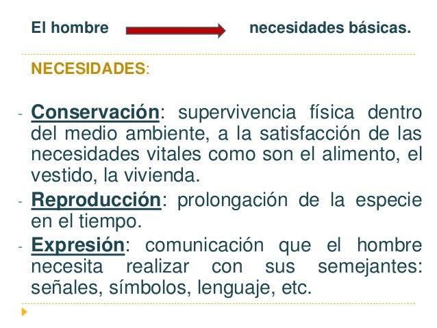 El hombre necesidades básicas. NECESIDADES: - Conservación: supervivencia física dentro del medio ambiente, a la satisfacc...