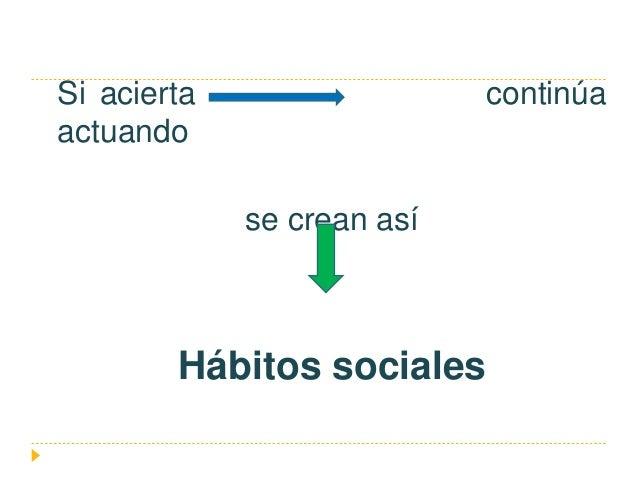 Si acierta continúa actuando se crean así Hábitos sociales