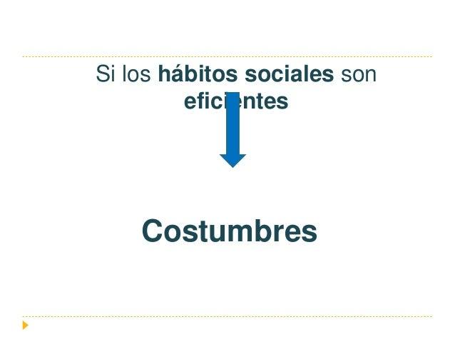 Si los hábitos sociales son eficientes Costumbres