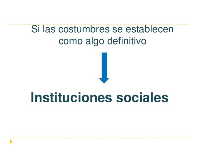 Si las costumbres se establecen como algo definitivo Instituciones sociales
