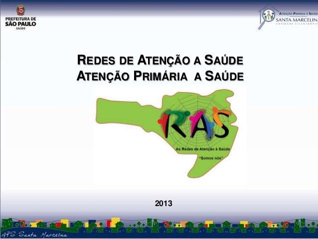 REDES DE ATENÇÃO A SAÚDE ATENÇÃO PRIMÁRIA A SAÚDE  2013