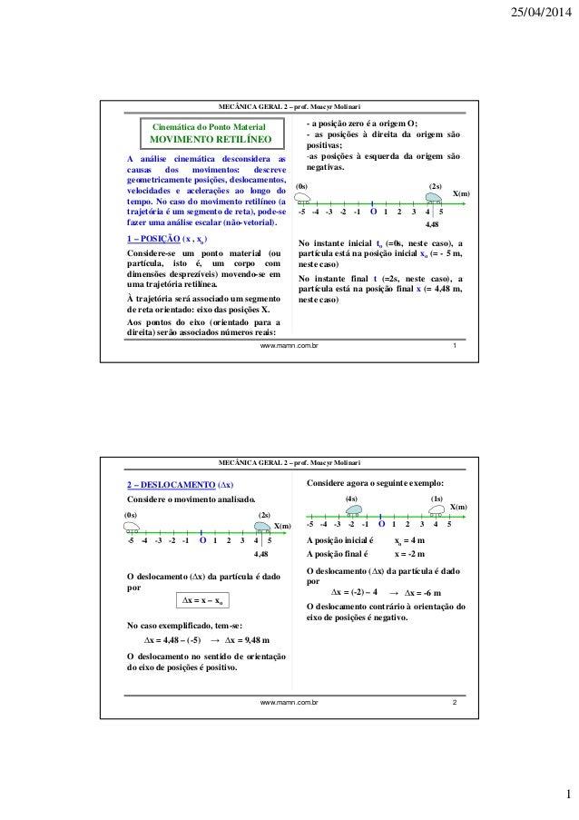 25/04/2014 1 www.mamn.com.br 1 MECÂNICA GERAL 2 – prof. Moacyr Molinari Cinemática do Ponto Material A análise cinemática ...