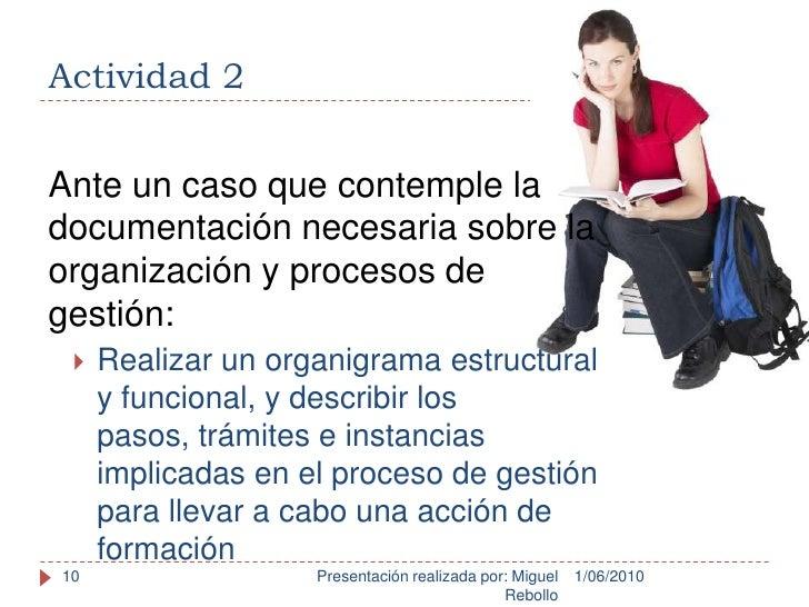 Actividad 2<br />1/06/2010<br />Presentación realizada por: Miguel Rebollo<br />10<br />Ante un caso que contemple la docu...