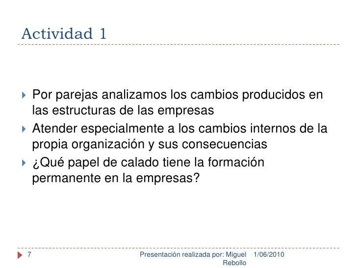 Actividad 1<br />1/06/2010<br />Presentación realizada por: Miguel Rebollo<br />7<br />Por parejas analizamos los cambios ...