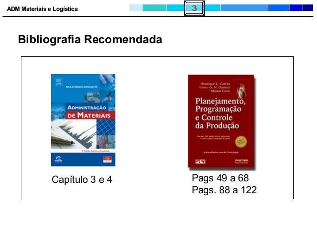 ADM Materiais e LogísticaADM Materiais e Logística 3 Bibliografia Recomendada Capítulo 3 e 4 Pags 49 a 68 Pags. 88 a 122