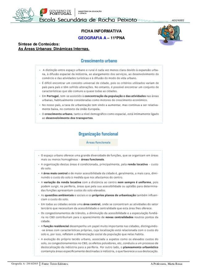 Geografia A - 2014/2015 Fonte: Texto Editores. A Professora, Marta Rosas  FICHA INFORMATIVA  GEOGRAFIA A – 11ºPNA  Síntese...