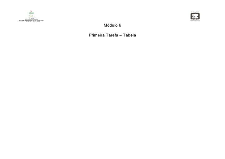 Módulo 6  Primeira Tarefa – Tabela