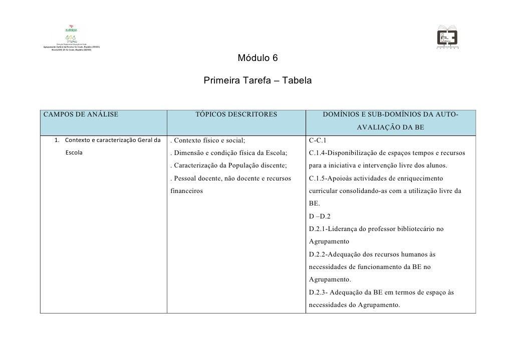 Módulo 6                                                          Primeira Tarefa – Tabela   CAMPOS DE ANÁLISE            ...