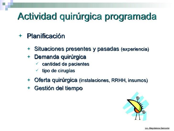 Actividad quirúrgica programada <ul><li>Planificación  </li></ul><ul><ul><li>Situaciones presentes y pasadas  (experiencia...