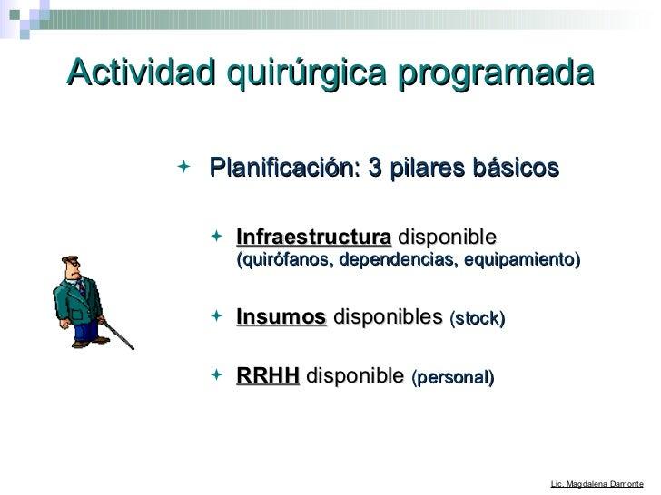 Actividad quirúrgica programada <ul><li>Planificación: 3 pilares básicos </li></ul><ul><ul><li>Infraestructura  disponible...