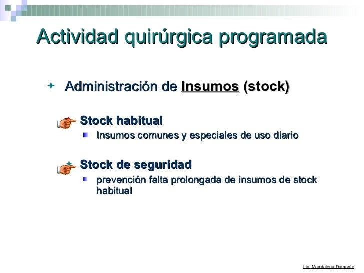 Actividad quirúrgica programada <ul><li>Administración de  Insumos  (stock)   </li></ul><ul><ul><li>Stock habitual </li></...