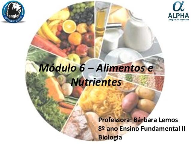 Módulo 6 – Alimentos e Nutrientes Professora: Bárbara Lemos 8º ano Ensino Fundamental II Biologia