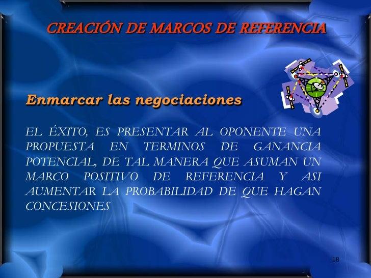 CREACIÓN DE MARCOS DE REFERENCIA   Enmarcar las negociaciones  EL ÉXITO, ES PRESENTAR AL OPONENTE UNA PROPUESTA EN TERMINO...
