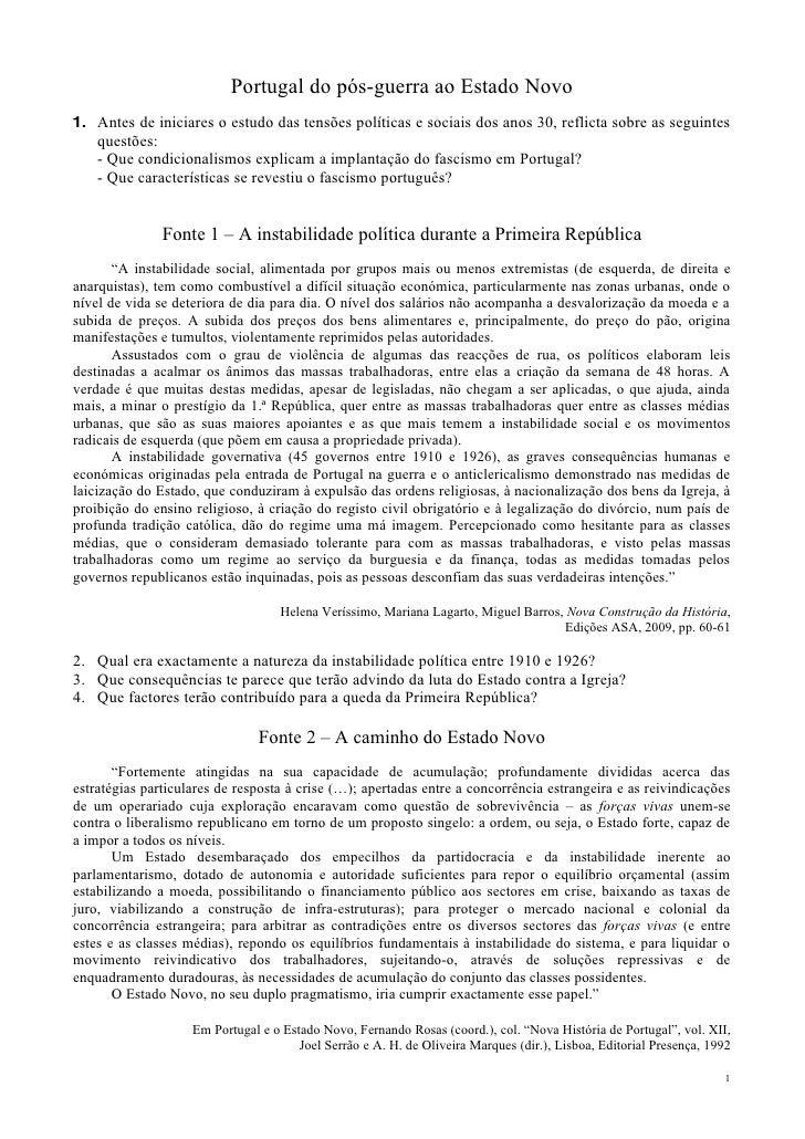 Portugal do pós-guerra ao Estado Novo 1. Antes de iniciares o estudo das tensões políticas e sociais dos anos 30, reflicta...