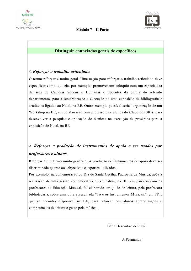 Módulo 7 – II Parte                     Distinguir enunciados gerais de específicos    3. Reforçar o trabalho articulado. ...