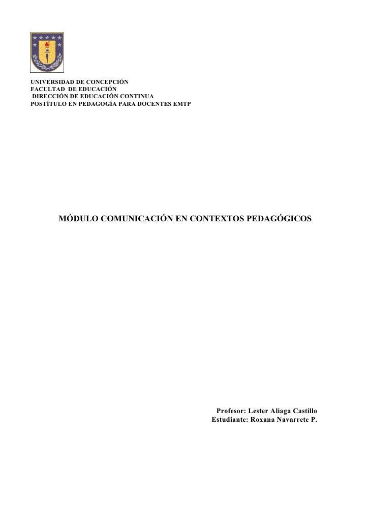 UNIVERSIDAD DE CONCEPCIÓN FACULTAD DE EDUCACIÓN DIRECCIÓN DE EDUCACIÓN CONTINUA POSTÍTULO EN PEDAGOGÍA PARA DOCENTES EMTP ...