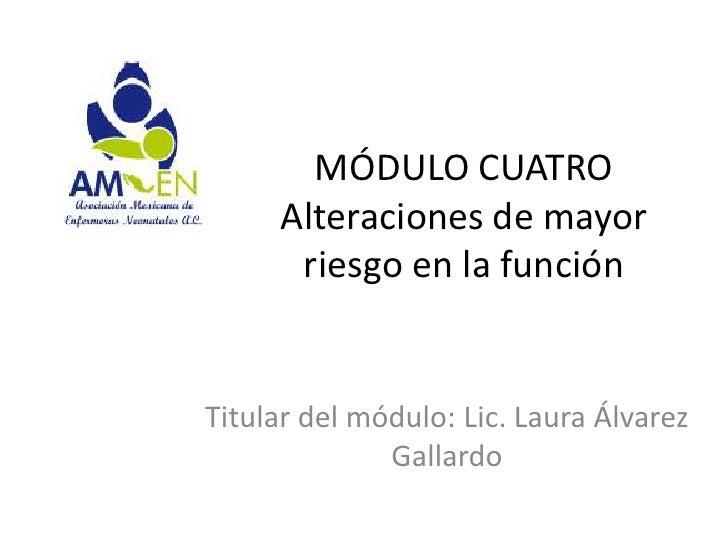 MÓDULO CUATRO     Alteraciones de mayor      riesgo en la funciónTitular del módulo: Lic. Laura Álvarez              Galla...
