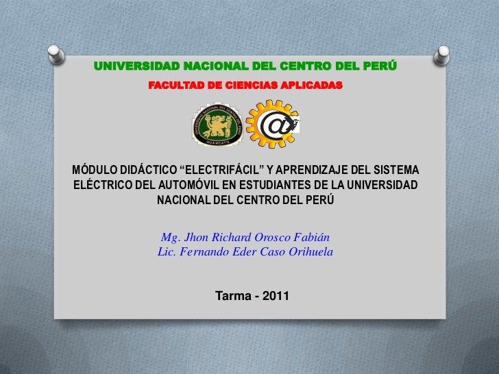 UNIVERSIDAD NACIONAL DEL CENTRO DEL PERÚ            FACULTAD DE CIENCIAS APLICADAS                                @MÓDULO ...