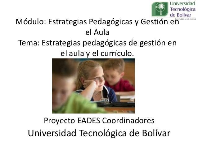 Proyecto EADES Coordinadores Universidad Tecnológica de Bolívar Módulo: Estrategias Pedagógicas y Gestión en el Aula Tema:...